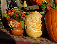 Close up of pumpkin display for pumpkin festival, maine 2010