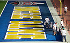 Jan 5, 2013; A painting crew prepares the field as they paint Notre Dame in the end zone at Sun Life Stadium in Miami, Florida. Notre Dame will be squaring off against the Alabama Crimson Tide in the 2013 BCS National Championship Monday night. Photo by Barbara Johnston/University of Notre Dame..