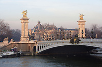 Pont Alexandre III, 1896-1900 for World Expo 1900 to commemorate the French-Russian Alliance of 1892, by the architects J. Cassine-Bernard and G. Cousin and engineers A. Alby and J. Resal, Petit Palais in the distance, inaugurated in 1902, built by Charles Girault and created for the  World Expo 1900, 8th arrondissement, Paris, France Picture by Manuel Cohen