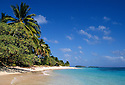"Marshall Islands, Micronesia: Beach and palm trees on Calalin Island, a ""Picnic Island"" on Majuro Atoll.."