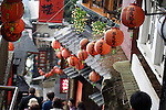 Lanterns hung down a narrow stairway in Jioufen, Taipei County, Taiwan