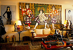 Bernard Buffet French artist expressionist painter (1928-1999) France Circa 1995. Interior home in Tourtour Provence France. Woman in painting is of his wife Annabel Schwob 1994.