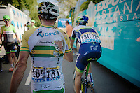 Simon Gerrans (AUS/Orica-GreenEDGE) crashed hard in the sprint to the finish and now must walk back to the teambus (unable to ride his broken bike)<br /> <br /> 2014 Tour de France<br /> stage 1: Leeds - Harrogate (190.5km)
