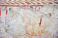 Lucanian fresco tomb painting of a two men boxing whilst listening to the pipes of Eros. Pastrum 3rd Century BC