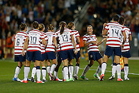 Commerce City, Colorado - Wednesday September 19, 2012; The US WNT defeated the National team of Australia 6-2 during an International friendly game at Dick's Sporting Goods Park.  Kelley O'Hara (5) of the USWNT celebrates Heather O'Reilly's goal against Australia.