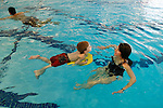 OXFORD, CT, 01/03/08- 010309BZ02- Aidan Papp, 6, and his mother Carol Papp swim during an Oxford Parks and Recreation Department sponsored open swim at the Oxford High School pool Saturday.  <br />  Jamison C. Bazinet Republican-American