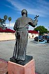 Statue of Father Junipero Serra outside the Mission in San Grabriel, California