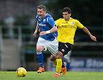 St Johnstone v Alashkert FC...09.07.15   UEFA Europa League Qualifier 2nd Leg<br /> Tam Scobbie is fouled by Khoren Veranyan<br /> Picture by Graeme Hart.<br /> Copyright Perthshire Picture Agency<br /> Tel: 01738 623350  Mobile: 07990 594431