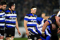 Francois Louw of Bath Rugby looks on at a scrum. Aviva Premiership match, between Bath Rugby and Northampton Saints on February 10, 2017 at the Recreation Ground in Bath, England. Photo by: Patrick Khachfe / Onside Images