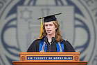 May 17, 2015; Anna Kottkamp, valedictorian of the 2015 graduating class, delivers the valedictory address during the University Commencement ceremonies in the Notre Dame Stadium.  (Photo by Barbara Johnston/University of Notre Dame)