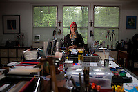 """ENGLEWOOD, NJ - June 07, 2013 : Civil rights political artist Faith Ringgold, 82, in her studio at her home in Englewood, NJ on June 07, 2013. Faith Ringgold was one of the leaders of the Black Arts Movement of the 1960's, gaining worldwide prominence for her quilts. """"American People, Black Light: Faith Ringgold's Paintings of the 1960's"""" is a retrospective of race, reconciliation, activism and feminism, from one of the most tumultuous periods in American history. (Photo by Melanie Burford/Prime for The Washington Post)"""