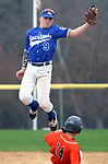 BURLINGTON CT. 24 April 2017-042417SV11-#9 Sam Buchanan of Lewis Mills gets the late throw as #14 Dom Zappone of Terryville was safe at 2nd during the 2nd inning in Burlington Monday. <br /> Steven Valenti Republican-American