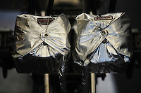 May 5, 2012; Commerce, GA, USA: Detailed view of parachutes on the back of an NHRA top fuel dragster in the pits during qualifying for the Southern Nationals at Atlanta Dragway. Mandatory Credit: Mark J. Rebilas-