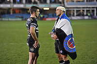 George Ford and Kahn Fotuali'i of Bath Rugby have a chat after the match. European Rugby Challenge Cup match, between Bath Rugby and Cardiff Blues on December 15, 2016 at the Recreation Ground in Bath, England. Photo by: Patrick Khachfe / Onside Images