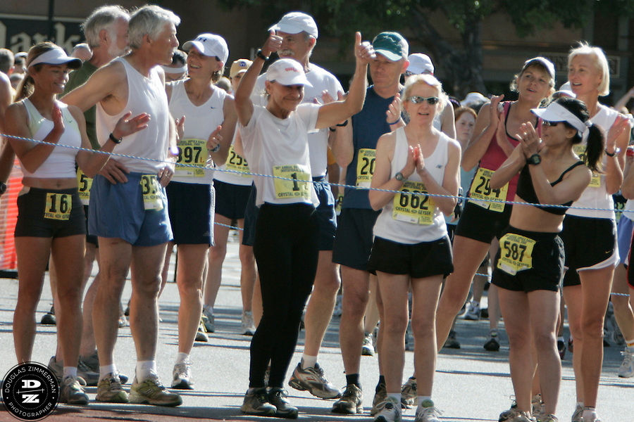 Jamie Berns of Mill Valley, Calif. (1) gets a round of applause from the crowd and other runners at the starting line for the 98th Dipsea Race in downtown Mill Valley on Sunday, June 8, 2008.  The Dipsea starts in Mill Valley, goes over Mt. Tamalapais, and ends in Stinson Beach.