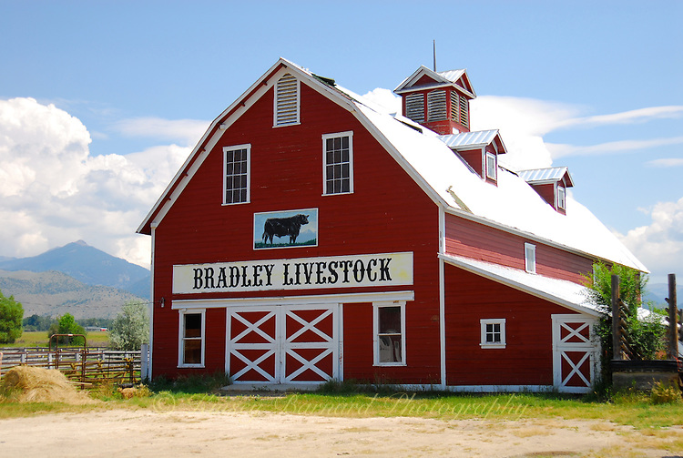 Traditional red barn in Montana