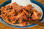 Korean Pork Bulgogi with rice.  ©2016. Jim Bryant Photo. All Rights Reserved.