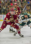 20 February 2016: Boston College Eagle Forward Zach Sanford, a Sophomore from Manchester, NH, in action during the first period against the University of Vermont Catamounts at Gutterson Fieldhouse in Burlington, Vermont. The Eagles defeated the Catamounts 4-1 in the second game of their weekend series. Mandatory Credit: Ed Wolfstein Photo *** RAW (NEF) Image File Available ***