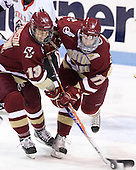 Cam Atkinson (BC - 13), Brian Gibbons (BC - 17) - The Northeastern University Huskies defeated the visiting Boston College Eagles 2-1 on Saturday, February 19, 2011, at Matthews Arena in Boston, Massachusetts.