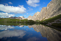 Adlerweg, Tirol, Austria, August 2005. The trail passes Lake Steinsee. The Adlerweg (eagles trail) is the new long distance hiking trail in Austria. The Adlerweg connects existing paths throughout Tirol, in the shape of an eagle, Tirol's provincial symbol. Photo by Frits Meyst/Adventure4ever.com