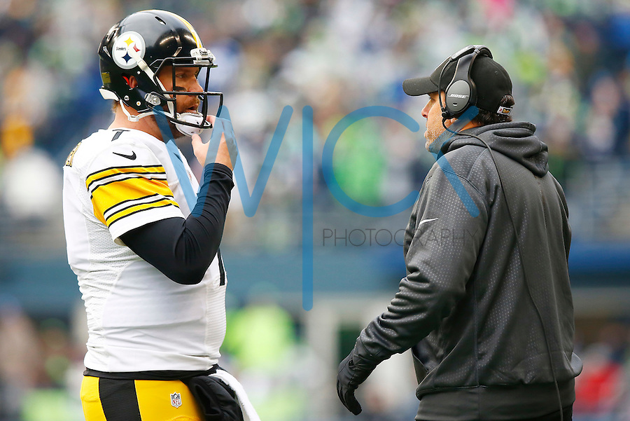 Ben Roethlisberger #7 of the Pittsburgh Steelers and offensive coordinator Todd Haley talk during the game against the Seattle Seahawks at CenturyLink Field on November 29, 2015 in Seattle, Washington. (Photo by Jared Wickerham/DKPittsburghSports)