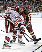 Luke Greiner (Harvard - 26), Destry Straight (BC - 17) - The Boston College Eagles defeated the Harvard University Crimson 4-1 in the opening round of the 2013 Beanpot tournament on Monday, February 4, 2013, at TD Garden in Boston, Massachusetts.