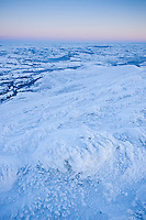 Winter view from Pen Y Fan over a frozen Welsh Landscape, Brecon Beacons national park, Wales