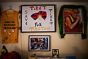 Details of a protest T-shirts and posters at Sonam Choden's house in Kathmandu, Nepal. Photo: Sanjit Das/Panos