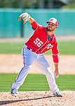 28 February 2016: Washington Nationals pitcher Nick Lee on the mound during an inter-squad pre-season Spring Training game at Space Coast Stadium in Viera, Florida. Mandatory Credit: Ed Wolfstein Photo *** RAW (NEF) Image File Available ***