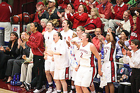 19 March 2007: Rosalyn Gold-Onwude, Christy Titchenal, Morgan Clyburn, Clare Bodensteiner, Markisha Coleman, Michelle Harrison, Jayne Appel, and Melanie Murphy during Stanford's 68-61 second round loss to Florida State in the 2007 NCAA Division I Women's Basketball Championships at Maples Pavilion in Stanford, CA.