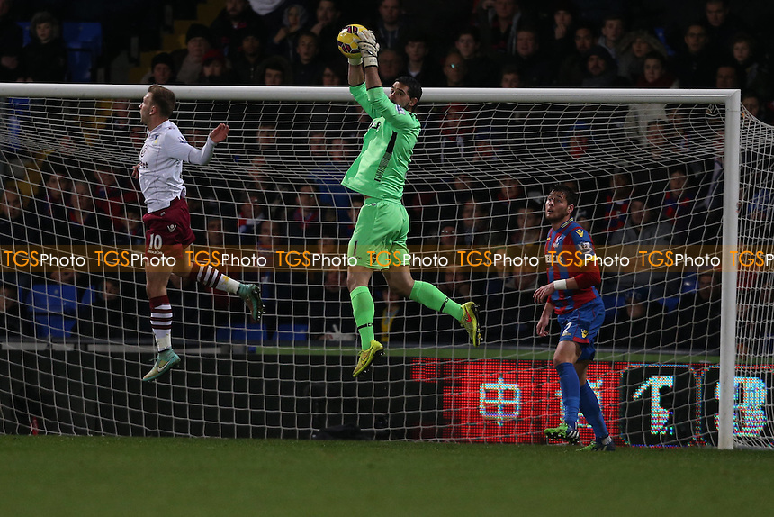 Julian Speroni of Crystal Palace catches a loose ball in the air - Crystal Palace vs Aston Villa - Barclays Premier League Football at Selhurst Park, London - 02/12/14 - MANDATORY CREDIT: Simon Roe/TGSPHOTO - Self billing applies where appropriate - contact@tgsphoto.co.uk - NO UNPAID USE