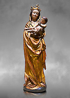Gothic wooden statue of Madonna and Child from Bohemia, circa 1530-1540, tempera and gold leaf on wood,.  National Museum of Catalan Art, Barcelona, Spain, inv no: MNAC  65506. Against a grey art background.