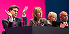 Ed Balls speech <br /> Labour Party Conference, Manchester, Great Britain <br /> 22nd September 2014 <br /> <br /> Ed Balls MP <br /> Shadow Chancellor<br /> Stability &amp; Prosperity debate<br /> <br /> applause from Ed Miliband <br /> Harriet Harman <br /> Angela Eagle<br /> Keith Vaz<br /> <br />  <br /> <br /> Photograph by Elliott Franks <br /> Image licensed to Elliott Franks Photography Services