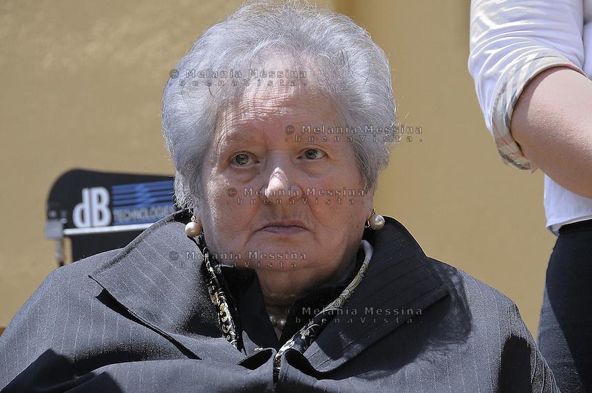 Corleone,the sister Giuseppina  during the state funeral of the unionist killed by mafia on 1948.<br /> <br /> Funerali di stato a Corleone per il sindacalista Placido Rizzotto ucciso dalla mafia nel 48,la sorella Giuseppina  durante l'evento.