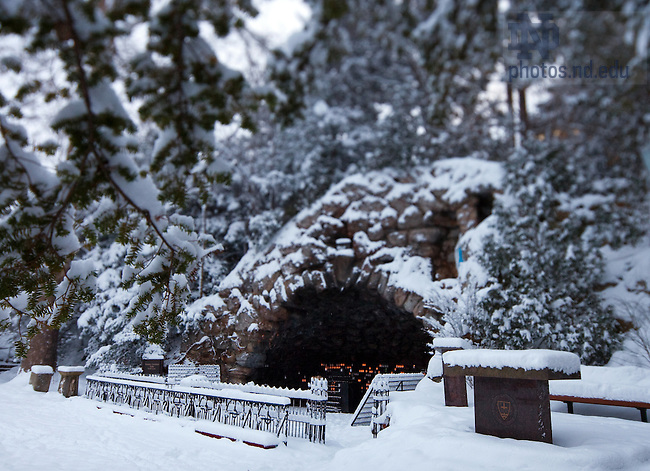 Grotto in Winter..Photo by Matt Cashore/University of Notre Dame