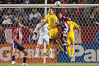 Chivas USA midfielder Nick LaBrocca (10) and Columbus Crew defender Chad Marshall (14) go head to head. Chivas USA and Columbus Crew played to a 0-0 tie at Home Depot Center stadium in Carson, California on  April  9, 2011....