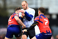 TORONTO, ON - MAY 06:  Richard Whiting #17 of Toronto Wolfpack is tackled by Clark McAllister #2 and Callum Windley #7 of Oxford RLFC during the first half of a Kingstone Press League 1 match at Lamport Stadium on May 6, 2017 in Toronto, Canada.  (Photo by Vaughn Ridley/SWpix.com)