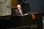 """Palestinian President Mahmoud Abbas addresses the United Nations General Assembly at UN Headquarters, in New York, November 29, 2012. Abbas appealed to the U.N. General Assembly to recognize Palestinian statehood by supporting a resolution to upgrade the U.N. observer status of the Palestinian Authority from """"entity"""" to """"non-member state."""". Photo by Thaer Ganaim"""