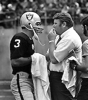 Oakland Raiders sideline: Coach John Madden and quarterback Daryle Lamonica. (1971 photo/Ron Riesterer)