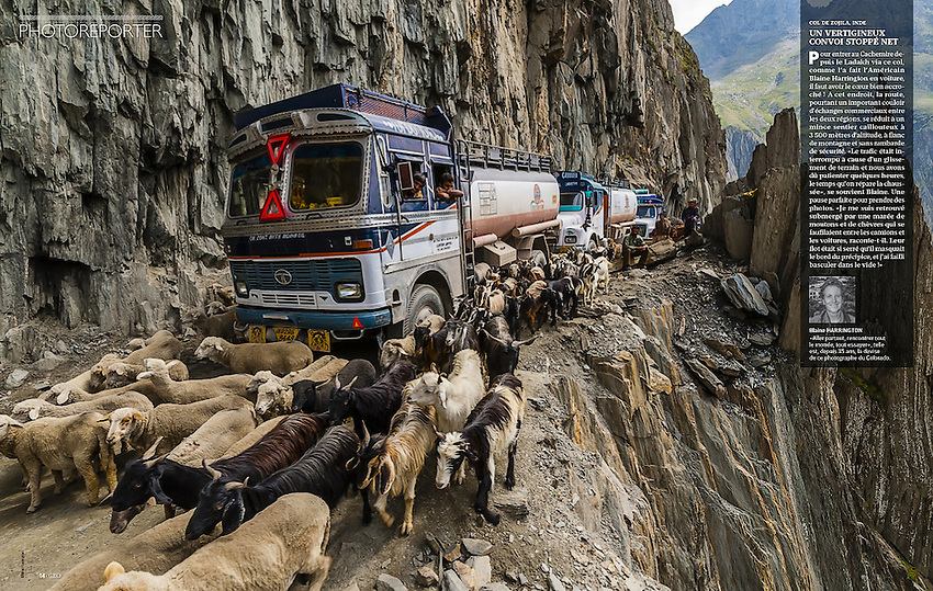 "Appeared in the ""Photoreporter"" section of GEO France, April 2015. Photo of Zojila Pass leading from Ladakh in Kashmir, India by Blaine Harrington III."