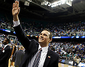 Lehigh head coach Murray Goodman thanks the crowd for thier support after the game, Lehigh defeated Duke 75-70 during the 2nd round of the 2012 NCAA Basketball Championship at the Greensboro Coliseum in Greensboro, NC. Photo by Al Drago.