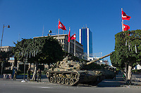 Tunis, January 15, 2011.On the morning after former president Ben Ali's escape, the army has taken position on Avenue Bourguiba in front of the Ministry of Interior, where the massive popular demonstration took place the day before.