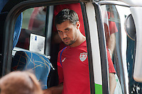 Chris Wondolowski disembarks the team bus arriving at Estadio Mateo Flores in Guatemala City, Guatemala on Mon. June 11, 2012 for a practice session.  The USA will face Guatemala in a World Cup Qualifier on Tuesday.