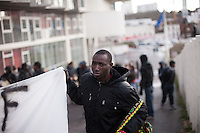 The Baras Collective rallied in front of the Bagnolet Town Hall today as they continue to fight an expulsion from 72 René Alazard in Bagnolet, suburb of Paris, France. Jan. 31, 2015.