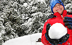 10 February 2008: Child plays in freshly fallen snow in Burlington, Vermont, USA...Mandatory Photo Credit: Ed Wolfstein Photo