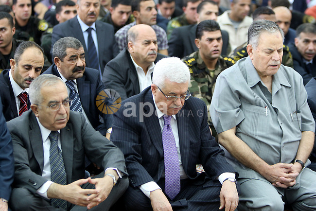 Palestinian president Mahmoud Abbas (Abu Mazen) attends the prayer of Eid al-Fitr in the West Bank city of Ramallah August 30, 2011. Eid al-Fitr marks the end of the Muslim holy month of Ramadan. Photo by Thaer Ganaim