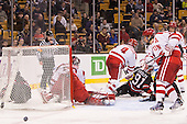 Josh Manson (NU - 3), Kevin Shea, Matt O'Connor (BU - 29), Patrick MacGregor (BU - 4), Robbie Vrolyk (NU - 91), Ryan Ruikka (BU - 2), Ahti Oksanen (BU - 3) - The Northeastern University Huskies defeated the Boston University Terriers 3-2 in the opening round of the 2013 Beanpot tournament on Monday, February 4, 2013, at TD Garden in Boston, Massachusetts.