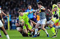 Sam James of Sale Sharks is tackled to ground. Aviva Premiership match, between Harlequins and Sale Sharks on January 7, 2017 at the Twickenham Stoop in London, England. Photo by: Patrick Khachfe / JMP