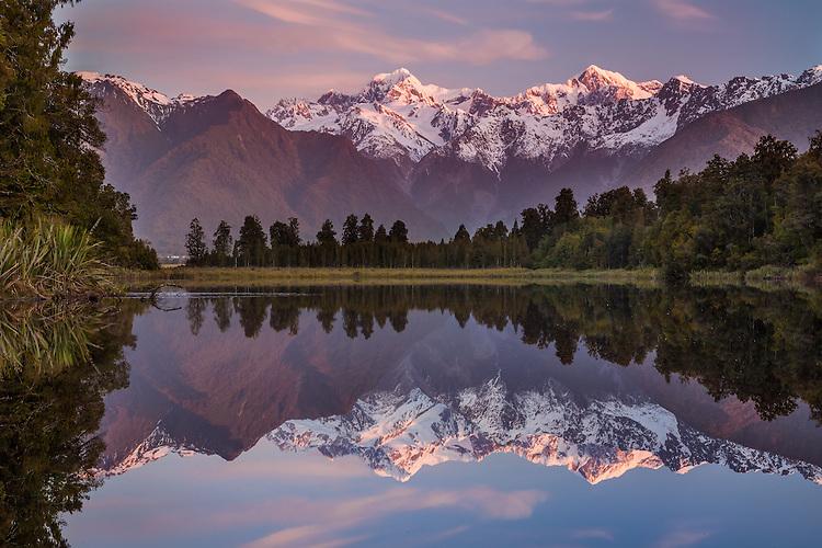 Mount Cook / Aoraki and Mount Tasman reflection in Lake Matheson, Westland National Park, South Island, New Zealand - stock photo, canvas, fine art print