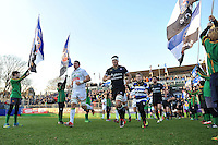 Francois Louw leads the Bath Rugby team out onto the field. European Rugby Challenge Cup match, between Bath Rugby and Pau (Section Paloise) on January 21, 2017 at the Recreation Ground in Bath, England. Photo by: Patrick Khachfe / Onside Images